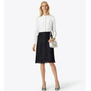 Tory Burch Aria Skirt Black Metallic Check Tweed